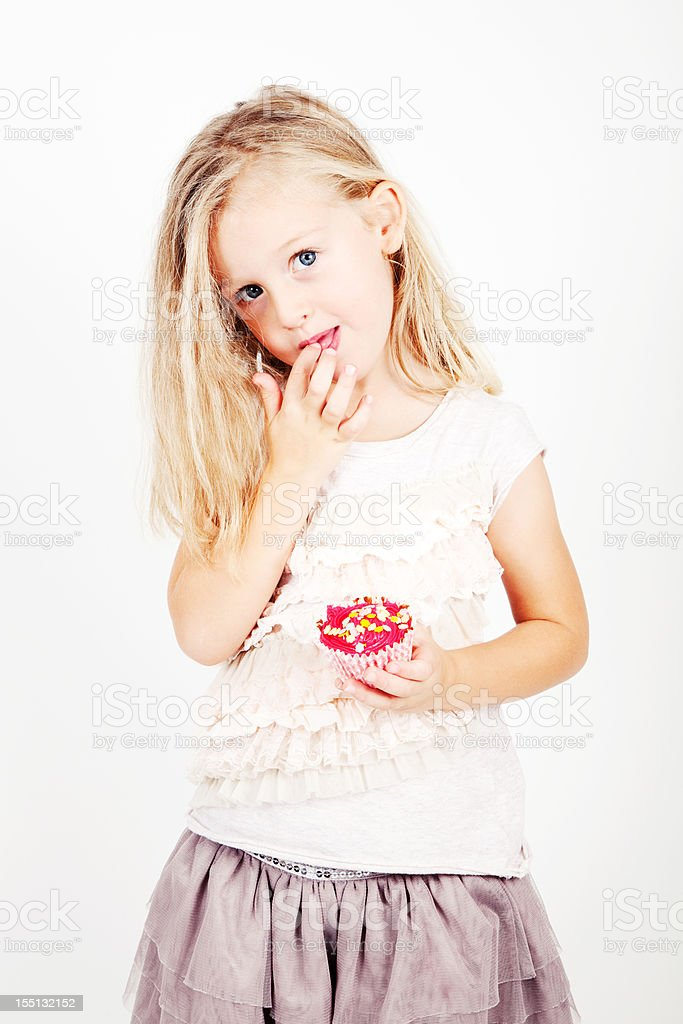 4 Year Old Girl with Cupcake royalty-free stock photo