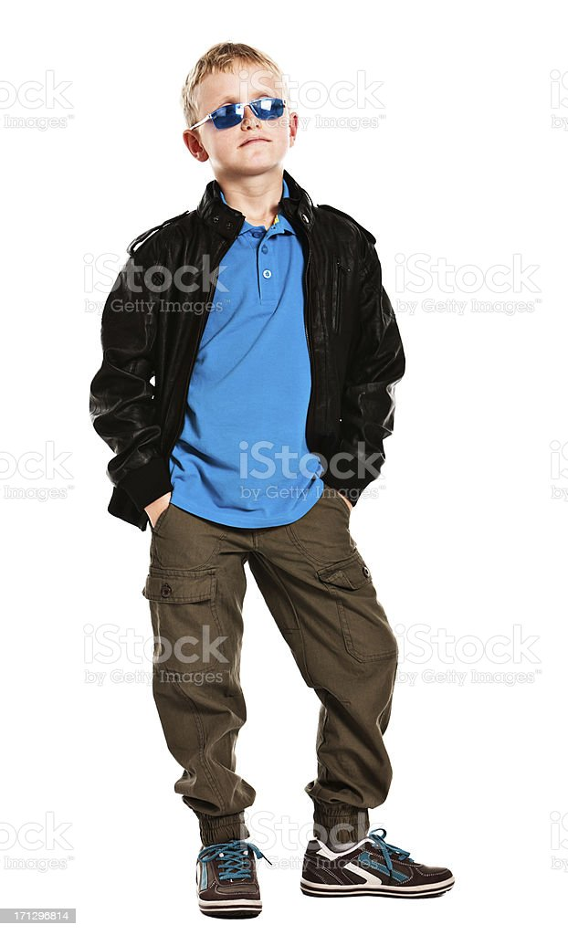 9 year old wannabe runway model or super-cool dude stock photo