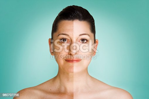 istock 50 year old woman headshot before and after anti-aging program 980707256
