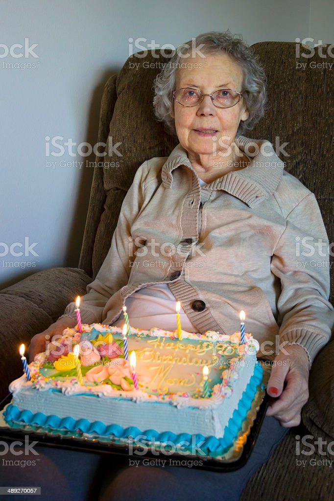 90 Year Old Woman On Her Birthday With Cake Royalty Free Stock Photo