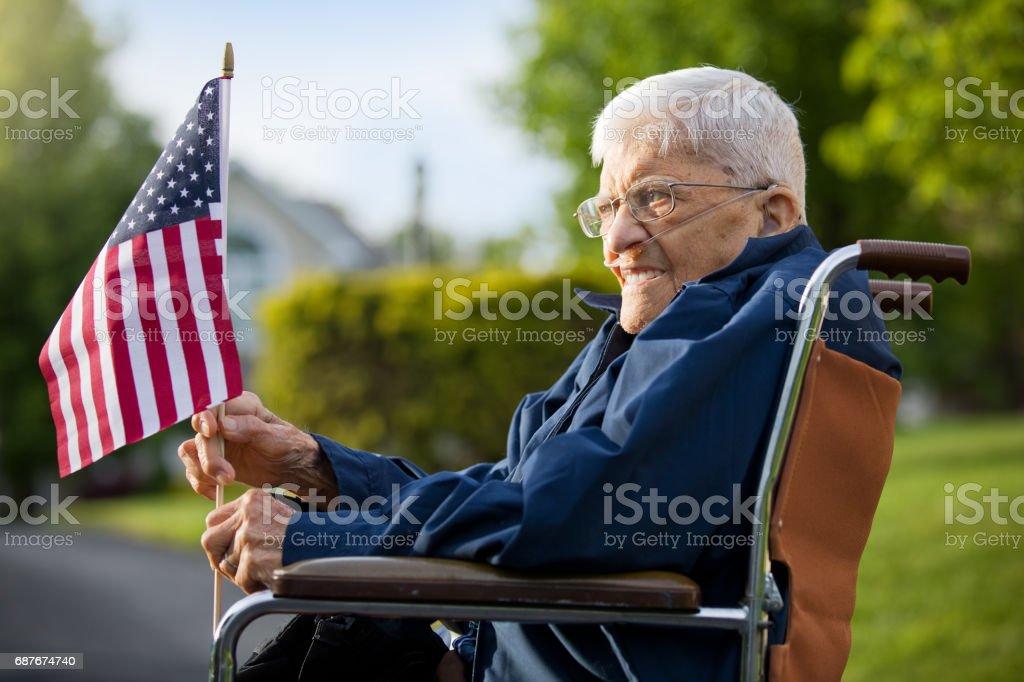 92 anos de idade veterano da segunda guerra mundial - foto de acervo