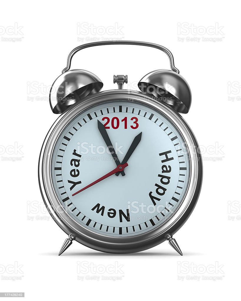2013 year on alarm clock. Isolated 3D image royalty-free stock photo