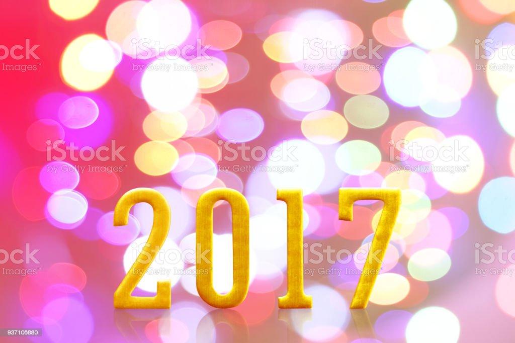 2017 year. on blurred bokeh light. stock photo