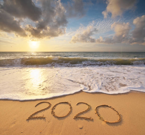 2020 year on the sea shore. Element of design. stock photo