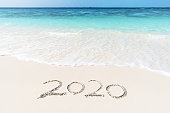 2020 year on the sea shore