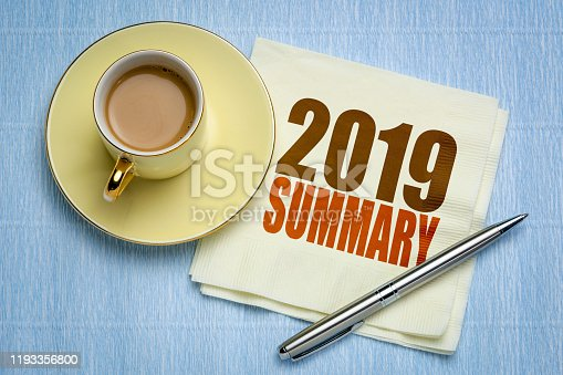 1186985932 istock photo 2019 year summary on napkin with coffee 1193356800