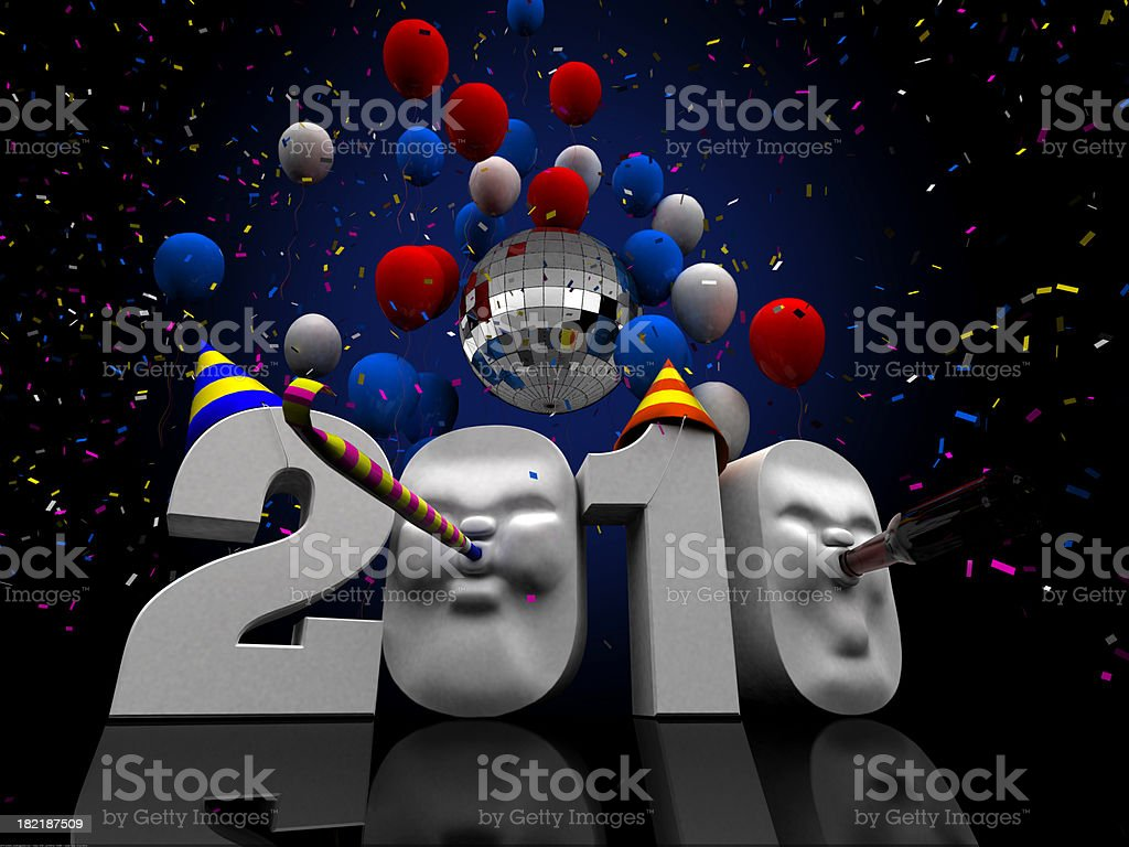 2010 New Years Illustration, Copy Space stock photo