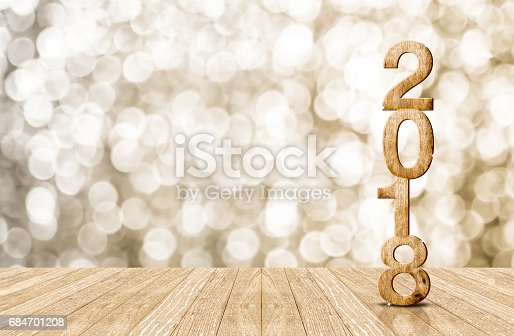 istock 2016 year wood number in perspective room with sparkling bokeh wall and wooden plank floor 684701208