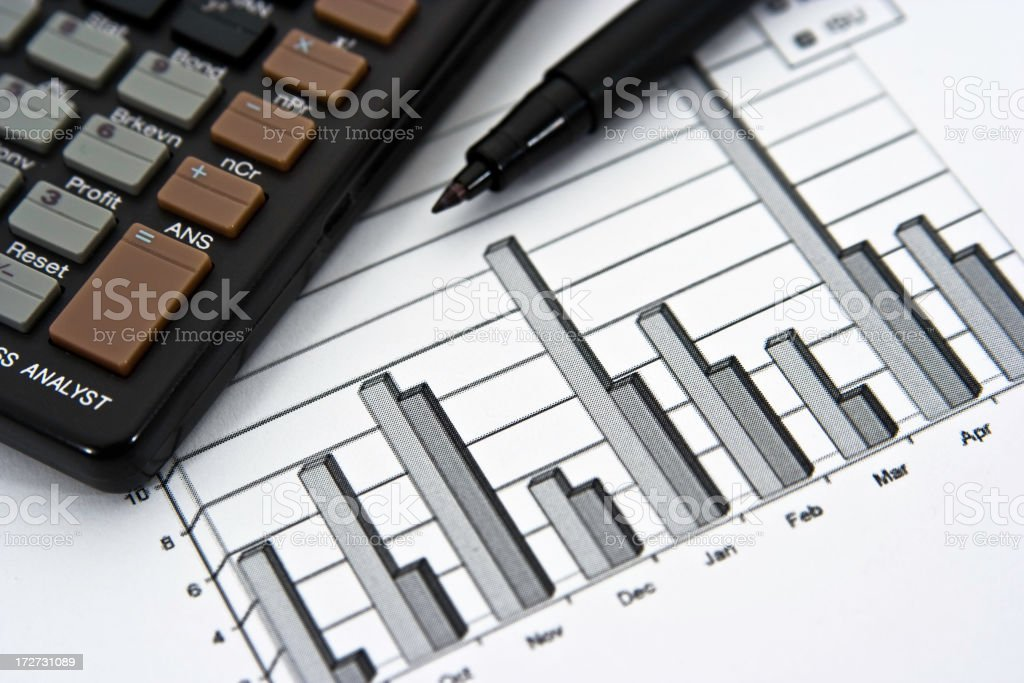 Yearly Bar Graph Calculating Sales Figures stock photo