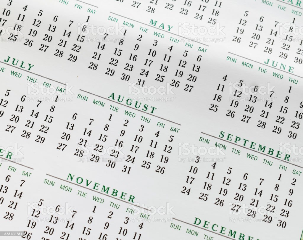 Yearly Calendar Background stock photo