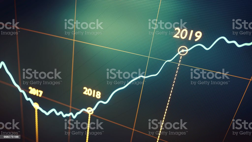 Yearly Graph Report 2019 Green foto stock royalty-free