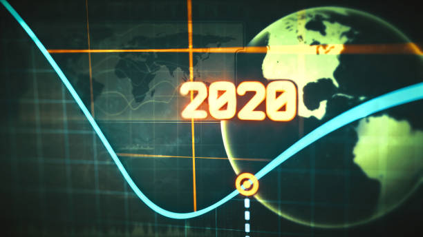 Yearly line graph report design for year 2020 with world globe silhouette and infographics, extreme close up stock photo