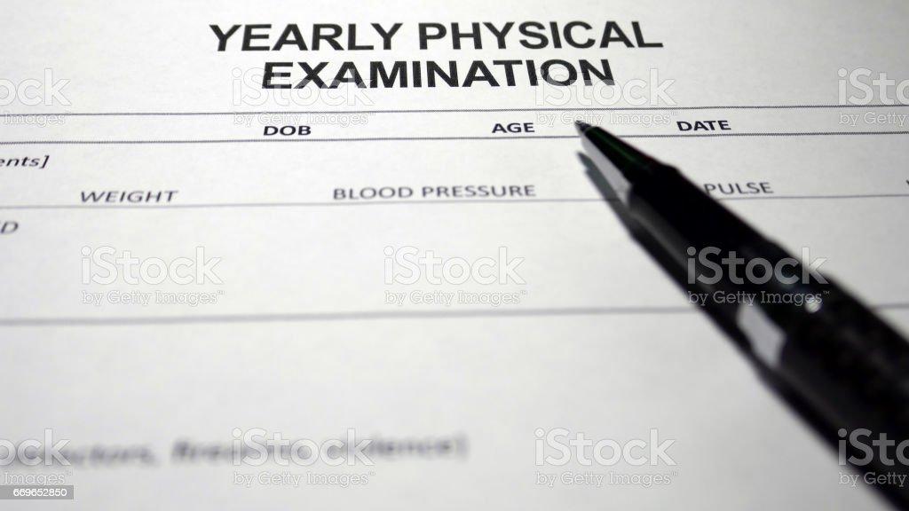 Yearly Physical Examination stock photo