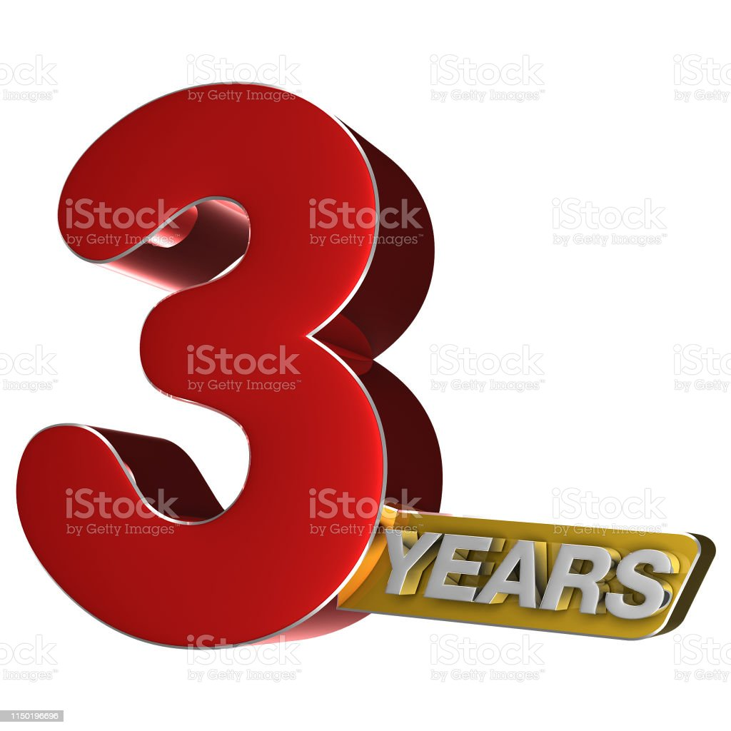3 years 3D.(with Clipping Path). stock photo