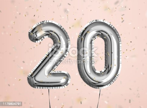 istock 20 years anniversary. Happy birthday joy celebration.Silver balloons & confetti for greeting card 1179804791