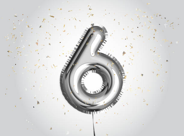 6 jaar verjaardag. gelukkige verjaardag vreugde viering. zilveren ballonnen & confetti voor wenskaart - 6 7 jaar stockfoto's en -beelden