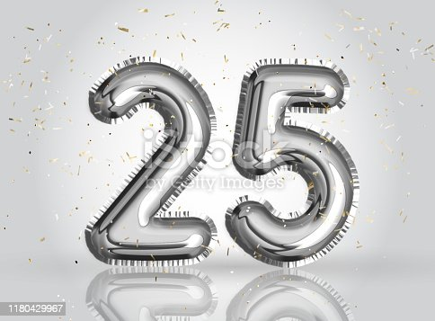 25 years anniversary. Happy birthday joy celebration.Silver balloons & confetti for greeting card, banner, birthday invitation, celebrate anniversary. 25 Years Silver Foil Balloon anniversary logotype