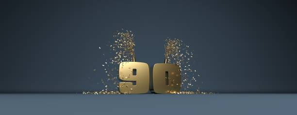 90 years anniversary illustration - number 90 stock photos and pictures