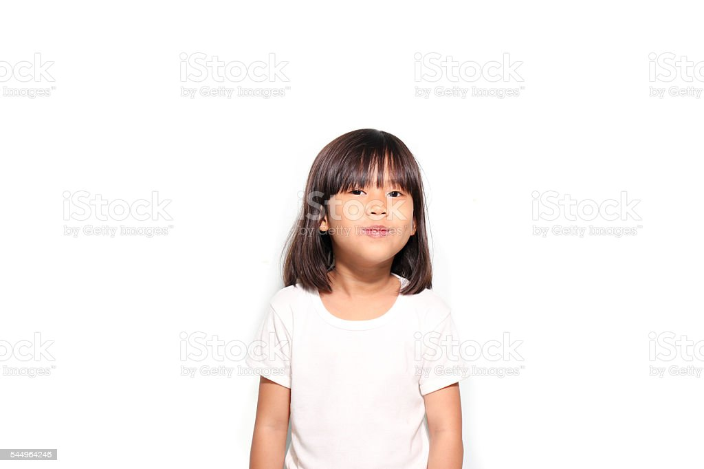 6 years Asian girl smile in white t shirt – Foto