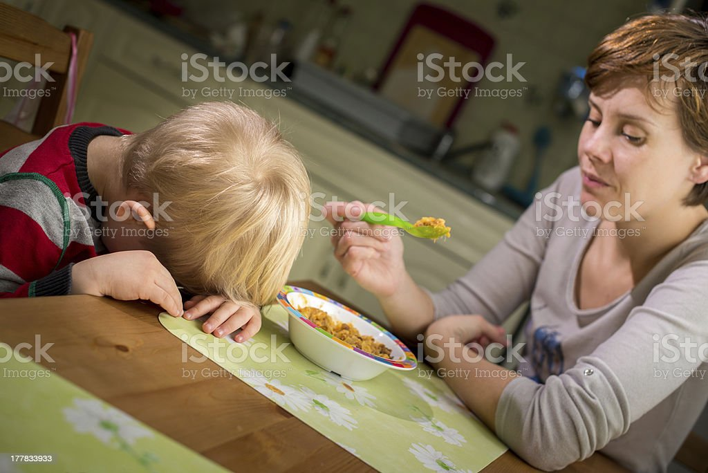 3-4 years boy does not want to eat stock photo