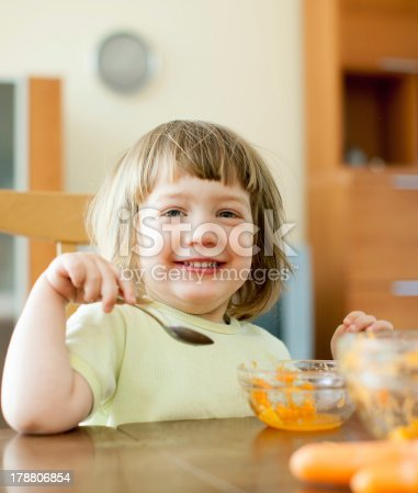 istock 2 years  child eats carrot salad 178806854
