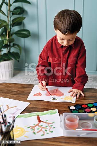 123500924 istock photo 2-3 years child painting with watercolor at home. 1192493014