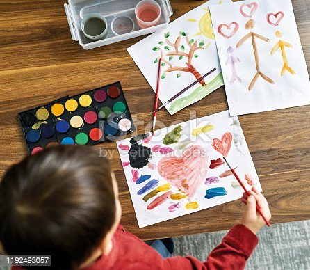 123500924 istock photo 2-3 years child painting with watercolor at home. 1192493057