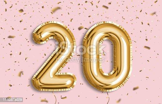 istock 20 Years golden Foil Balloon anniversary logotype. 1140378029