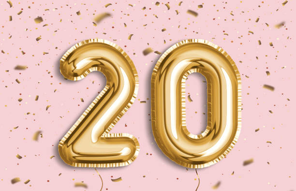 20 years golden foil balloon anniversary logotype. - number 20 stock photos and pictures