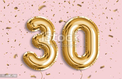 30 years anniversary. Happy birthday joy celebration.Gold balloons & confetti for greeting card, banner, birthday invitation, celebrate anniversary. 30 Years golden Foil Balloon anniversary logotype.
