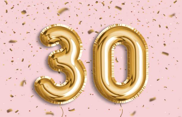 30 years golden foil balloon anniversary logotype. - 30 te urodziny zdjęcia i obrazy z banku zdjęć