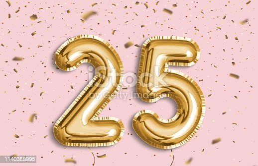 25 years anniversary. Happy birthday joy celebration.Gold balloons & confetti for greeting card, banner, birthday invitation, celebrate anniversary. 25 Years golden Foil Balloon anniversary logotype.
