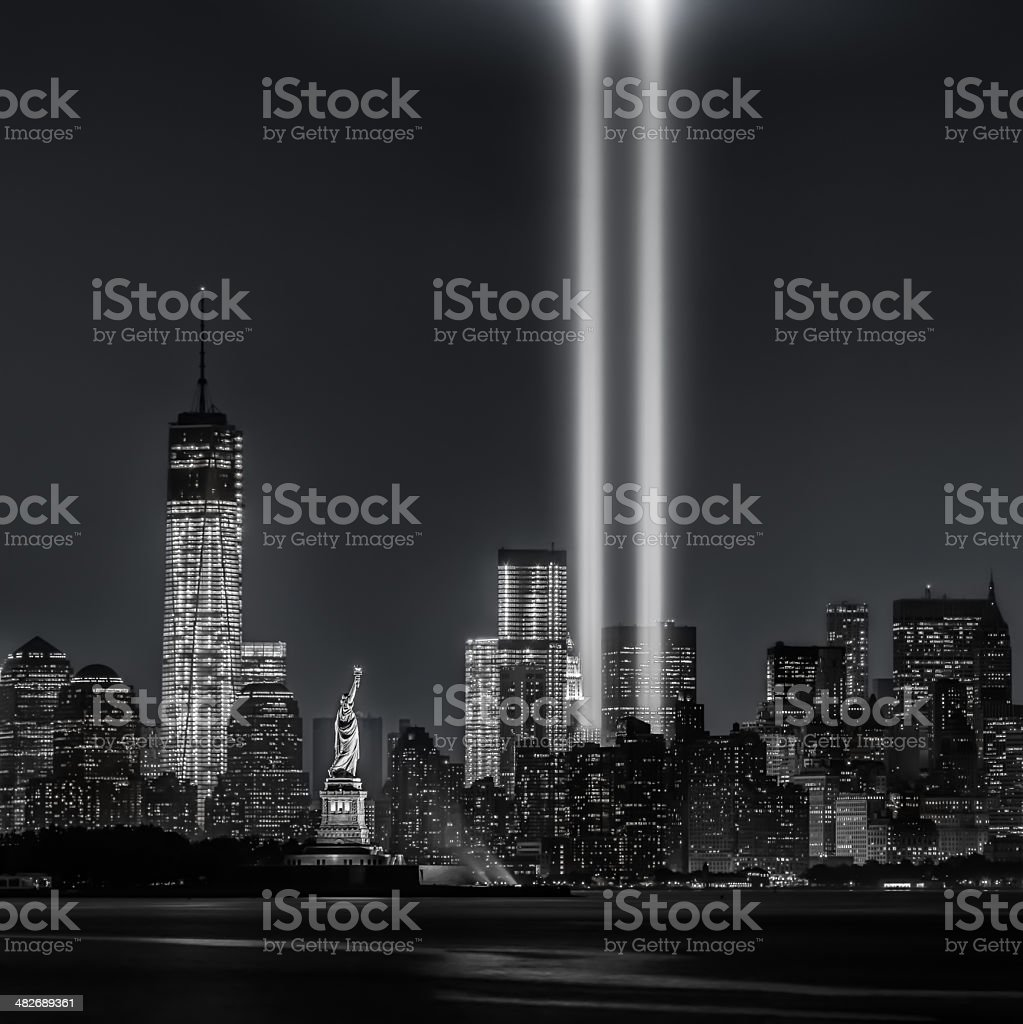 12 years later...Tribute in Lights, 9/11 stock photo