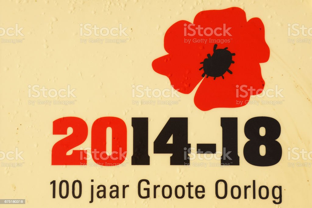 WWI 100 years Memorial Sign at Flanders Fields in Belgium stock photo