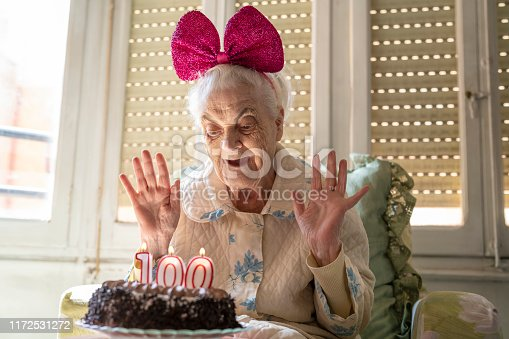 100 years old birthday cake to old woman elderly celebration funny humor