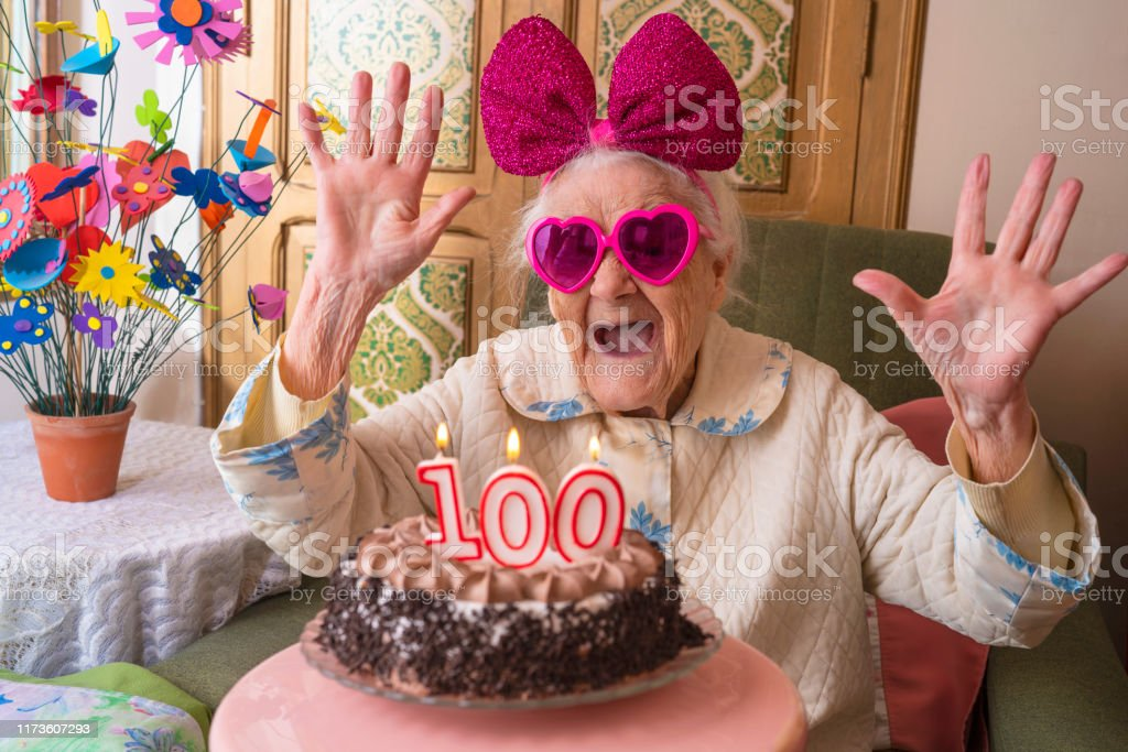 Sensational 100 Years Old Birthday Cake To Old Woman Stock Photo Download Funny Birthday Cards Online Aeocydamsfinfo