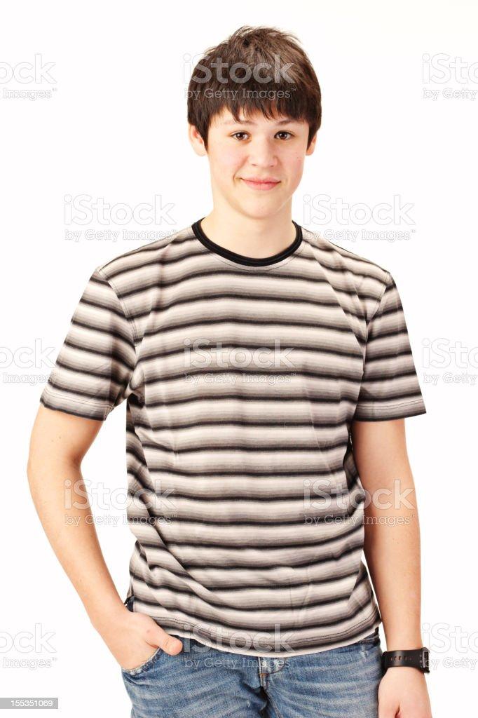 16 ans vieux petit garçon sur fond blanc - Photo