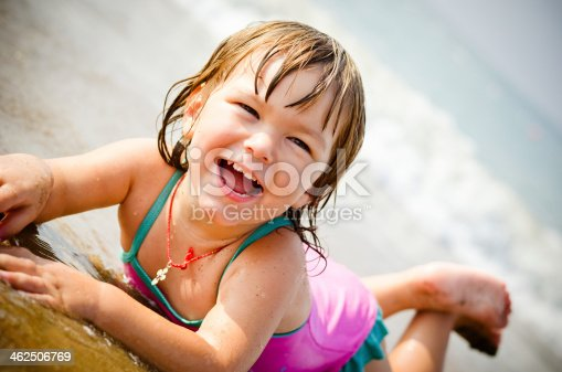 istock 2 years old girl at the beach in summer 462506769