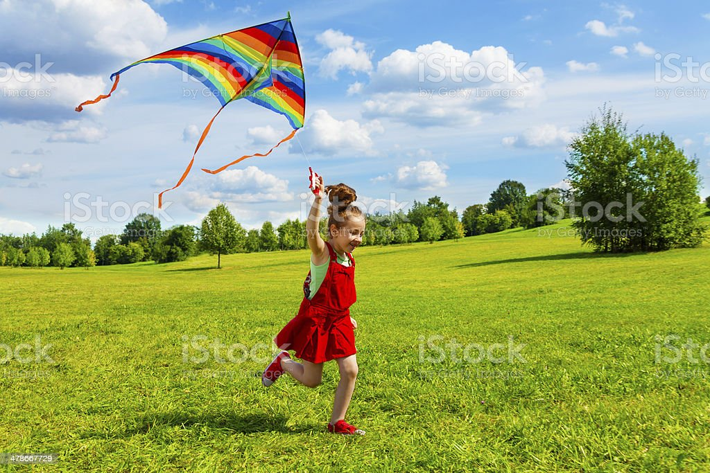 6 years old girl with kite stock photo
