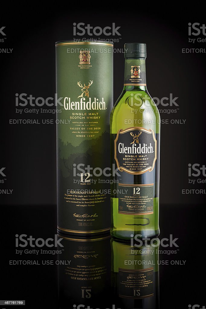 12 years old Glenfiddich single malt scotch whisky stock photo