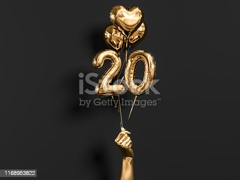 istock 20 years old. Gold and black Number 20th anniversary, 1168953822