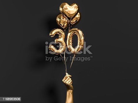 30 years old. Gold and black Number 30th anniversary, happy birthday congratulations. 3d rendering.
