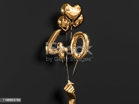 40 years old. Gold and black Number 40th anniversary, happy birthday congratulations. 3d rendering.