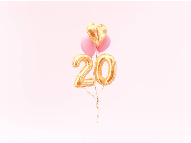 20 years old. gold balloons number 20th anniversary - number 20 stock photos and pictures