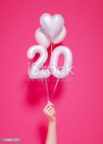 istock 20 years old. Number 20th anniversary, happy birthday congratulations. 1156647871