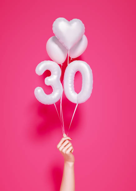 30 years old. Number 30th anniversary, 30 years old. Number 30th anniversary, happy birthday congratulations. 3d rendering. 30 34 years stock pictures, royalty-free photos & images