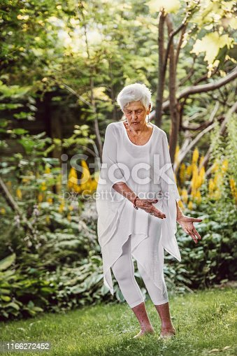 84 years old senior woman doing tai chi at the end of the day in nature