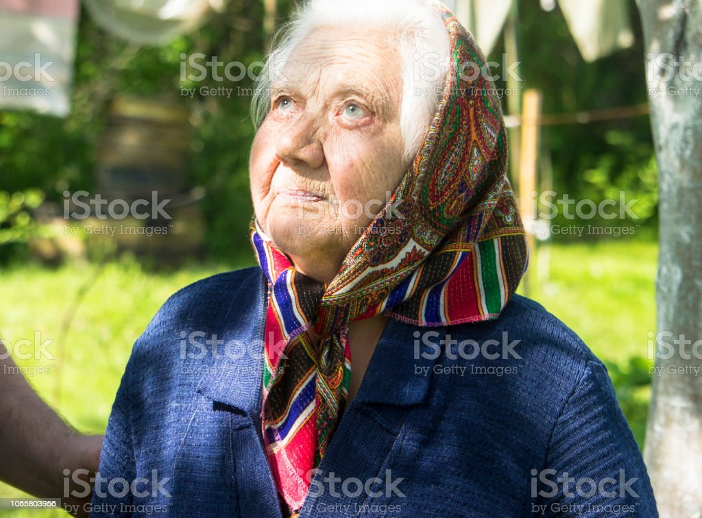 90 years old woman. stock photo