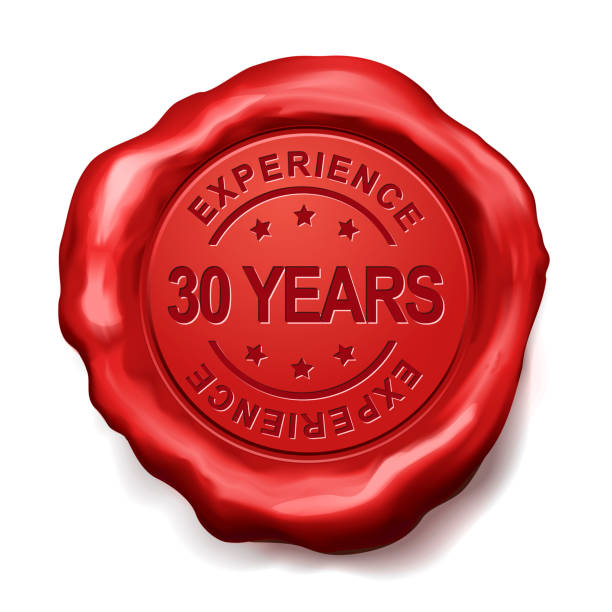 30 years red wax seal 30 years experience red wax seal over white background 30 34 years stock pictures, royalty-free photos & images
