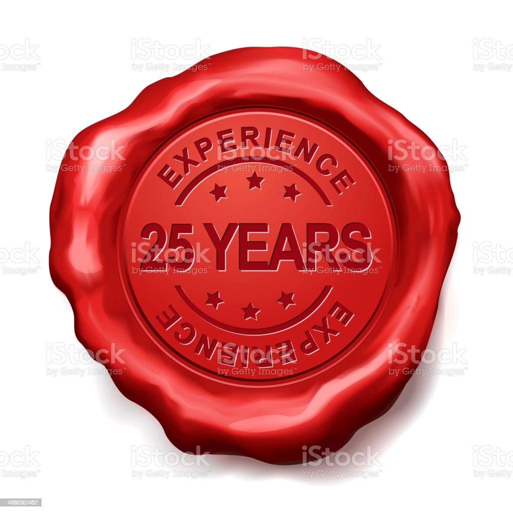 25 Jahre Rotes Wachs-Siegel - Lizenzfrei 2015 Stock-Foto